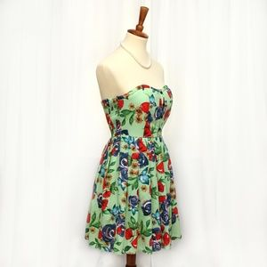 Pink Owl Beautiful Floral Strapless Dress Green